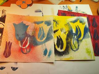 Spraying, stamping and printing
